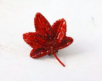 Red Maple Leaf Brooch, Autumn momiji obidome, Swarovski crystal leaves, Big sparkle brooch, Sequin embroidery pin,