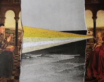Embroidered Collage, Van Eyck, Energy, Seaside, Hand Embroidery on Paper, Renaissance, Spiritual, Surreal, Kunst