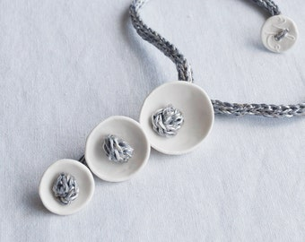 KNOT POD white porcelain necklace, grey icord