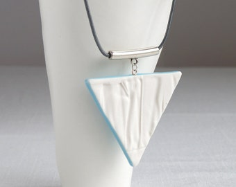 Geometric triangle porcelain necklace, RUCHED No17, blue