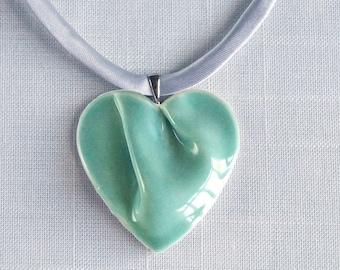 Jade HEART necklace porcelain, grey satin cord