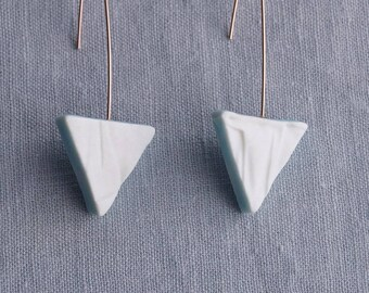 RUCHED No14 geometric triangle earrings porcelain earrings rose gold earrings white blue drop earrings geo earrings artisan earrings
