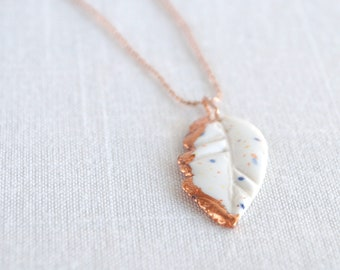 Feather necklace, white porcelain, rose gold chain