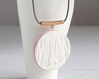 RUCHED No18 circle pendant necklace, white porcelain, rose gold bail blush pink glaze