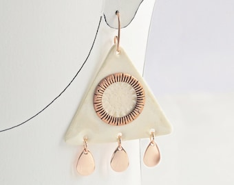 SUN & RAIN statement earrings, porcelain triangles copper rose gold wires