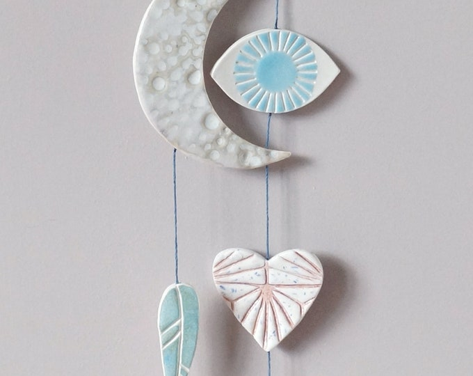 Featured listing image: Mystic EYE LIGHT wall art, hanging ceramic symbols on cord