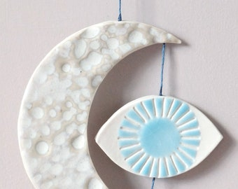 Fine art ceramic, mystic EYE LIGHT, hanging wall art with porcelain symbols