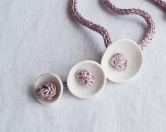 KNOT POD porcelain necklace, pink icord