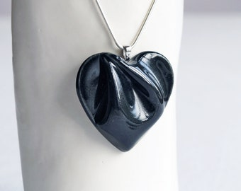 Large black HEART necklace, porcelain ceramic, 925 sterling silver, valentine's day gift for her