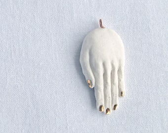 Ceramic HAND pendant, white porcelain hand necklace with carat gold lustre nails, rose gold or copper chain