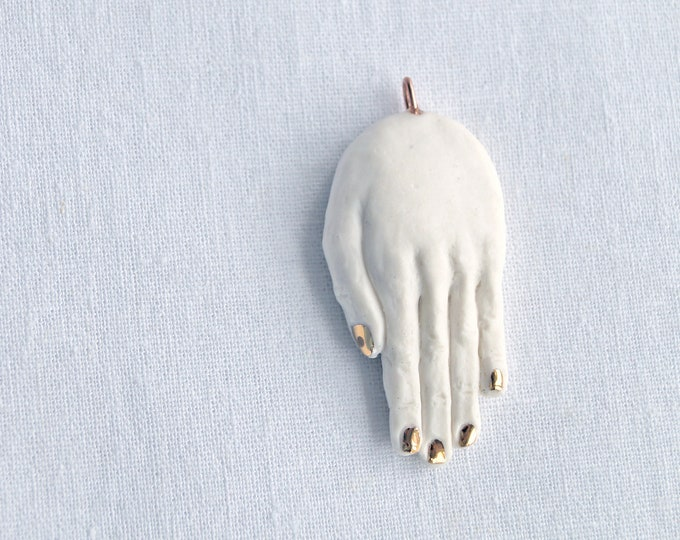 Featured listing image: Ceramic HAND pendant, white porcelain hand necklace with carat gold lustre nails, rose gold or copper chain