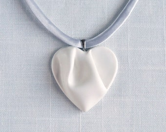White HEART necklace, porcelain, grey cord