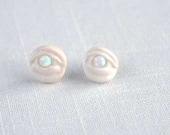 Porcelain mystic EYE LIGHT earrings, evil eye earrings, opal sterling silver posts