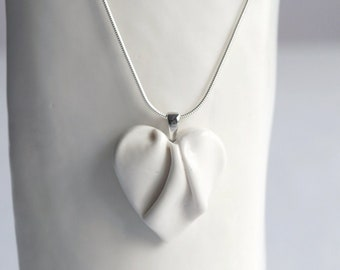 Medium white HEART necklace porcelain ceramic, 925 sterling silver