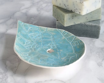 LEAF hand made porcelain soap dish with holes, aqua glaze