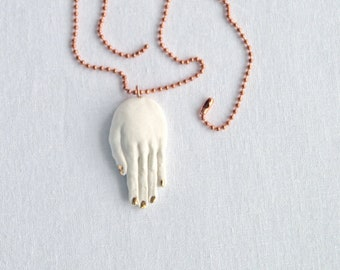 Gold HAND amulet pendant necklace, white porcelain hand necklace with carat gold lustre nails, rose gold or copper chain