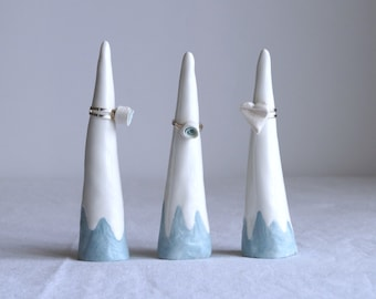 MOUNTAIN ceramic ring cone, ceramic porcelain blue and white glaze