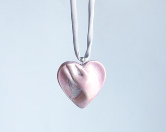 Pink HEART necklace porcelain, grey satin cord