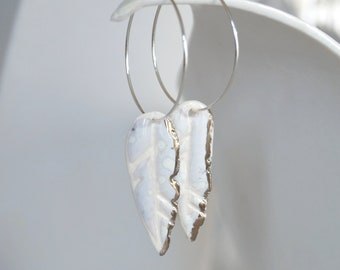 White feather hoop earrings, 925 sterling silver hoops