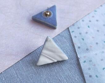 RUCHED No19 geometric triangle stud earrings