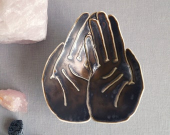 Ceramic hands bowl, OFFERING porcelain, golden black