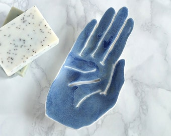 Ceramic soap dish, porcelain HAND, matt blue