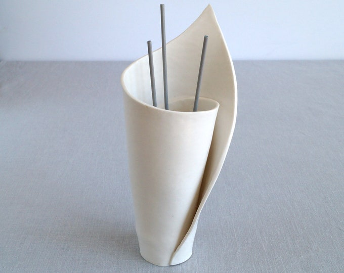 Featured listing image: Ceramic reed diffuser, spiral LILY porcelain vase, zen decor