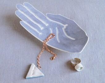 PALM ring dish, life size blue grey