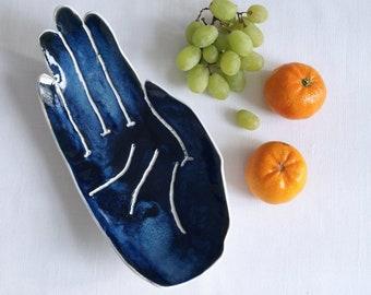 PALM ceramic fruit bowl, porcelain ceramic hand, midnight dark blue, large size