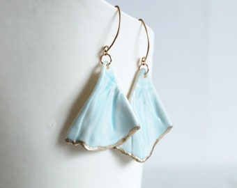 Porcelain earrings rose gold wires, RUCHED No7, blue