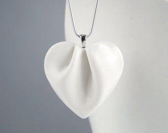 Porcelain HEART necklace, white porcelain ceramic, 925 sterling silver chain
