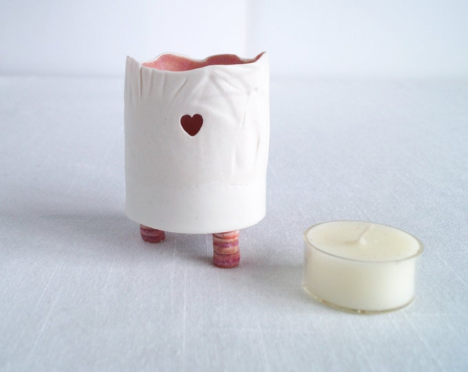 Featured listing image: Porcelain tea light holder, button feet, heart detail, RUCHED No9, pink glaze
