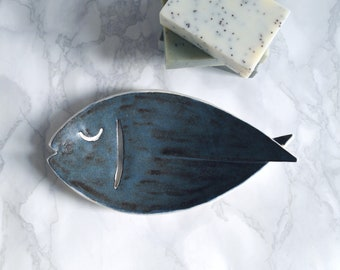 Ceramic FISH soap dish, draining, porcelain, dark blue brown acai matt glaze