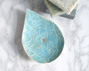 LEAF hand made porcelain soap dish, draining holes, aqua glaze