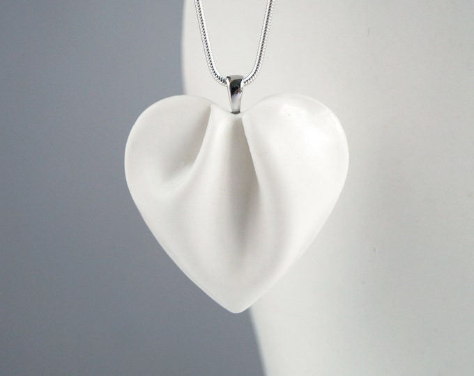 Featured listing image: Porcelain HEART necklace, white glaze, 925 sterling silver chain