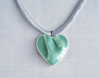 Jade HEART necklace porcelain, grey satin cord