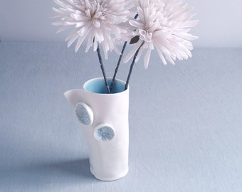 Hand made porcelain vase, POM POM, celadon blue