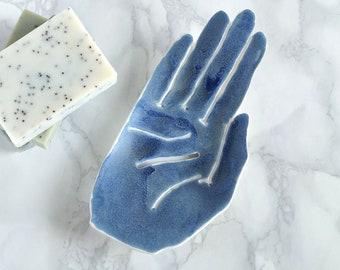 Ceramic HAND soap dish, draining, white porcelain, matt blue glaze