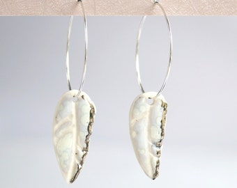 White feather hoop earrings, porcelain, 925 sterling silver hoops