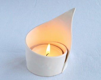 White spiral LILY ceramic candle holder, satin white porcelain