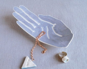 PALM ceramic hand ring dish, white porcelain hand jewellery holder coin dish, blue grey glaze