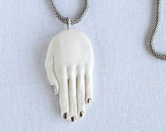 Silver HAND amulet pendant necklace, porcelain with 925 Sterling silver or stainless steel chain