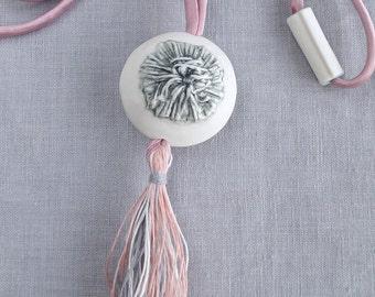 Tassel necklace, large porcelain bead, pink