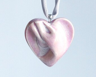 Pink HEART necklace porcelain, grey satin cord