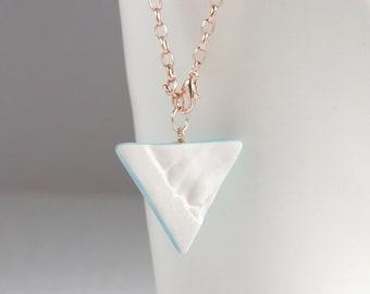 Triangle pendulum rose gold bracelet RUCHED No21, jade
