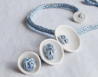 KNOT POD porcelain necklace, blue icord