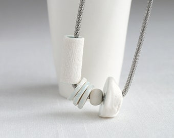 Porcelain bead necklace, stainless steel, COLLECTED No8