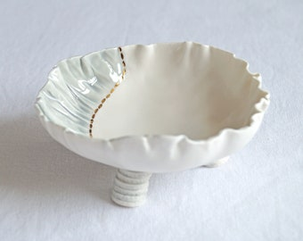 RUCHED No1 medium freeform porcelain bowl, gold grey white