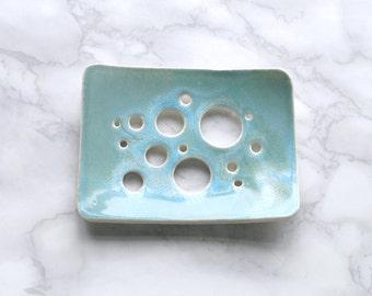 Porcelain ceramic soap dish BUBBLE holes, aqua turquoise