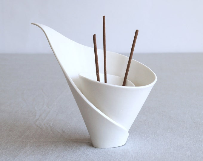 Featured listing image: Incense holder spiral white porcelain lily, very zen